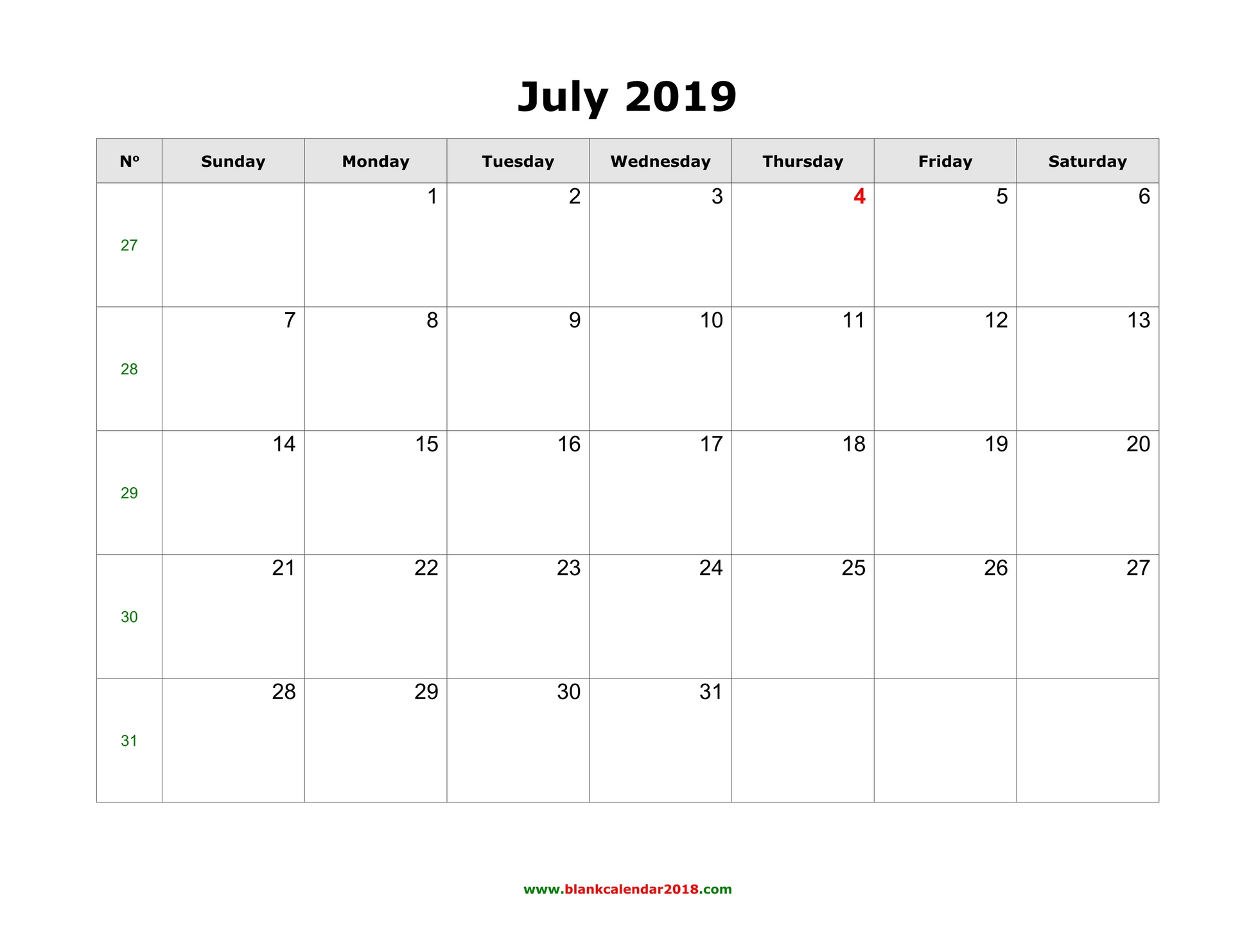 Blank Calendar For July 2019 regarding Blank July Monthly Calendar