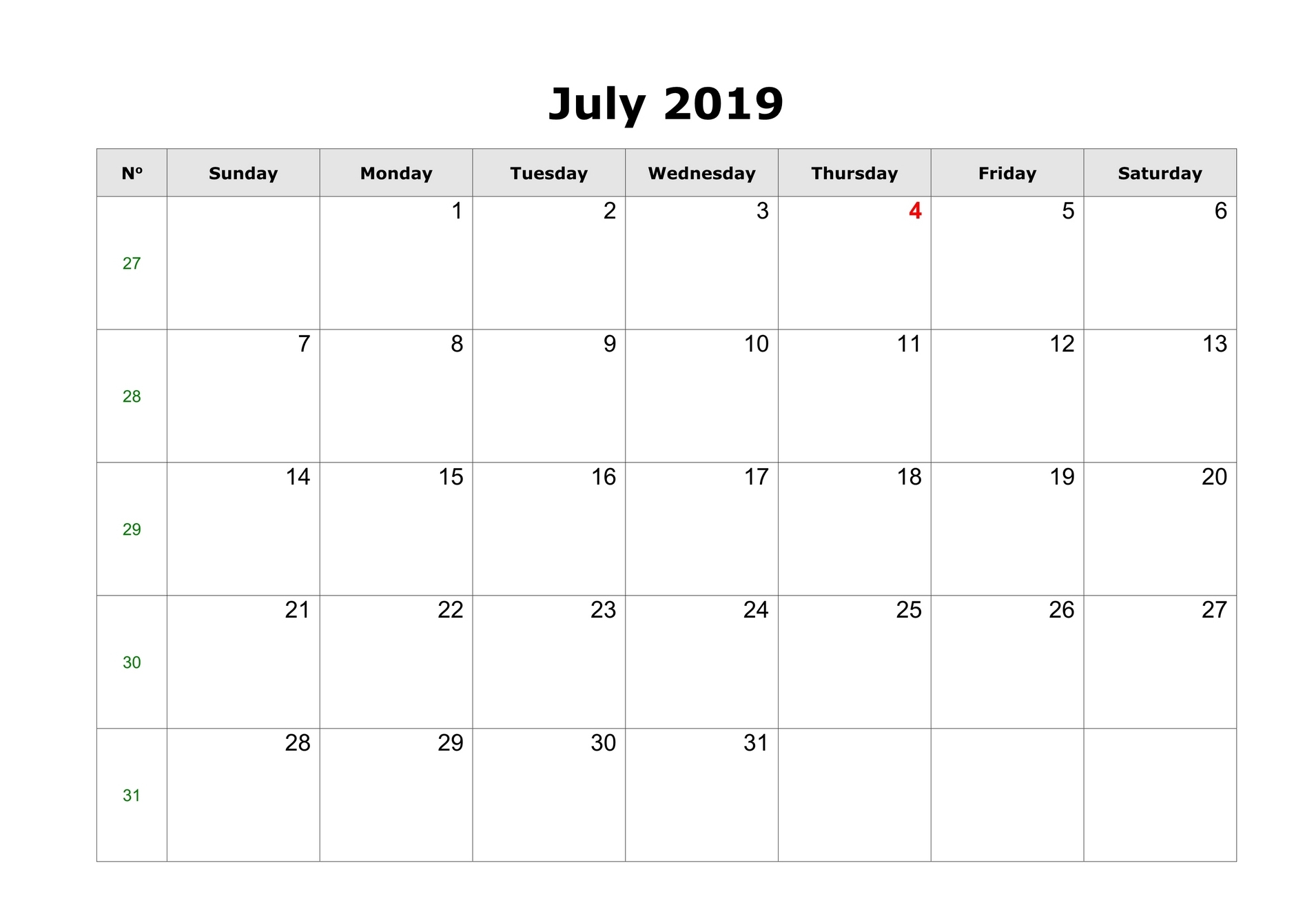 Blank Calendar For July 2019 To Print - Free August 2019 Calendar in July Calendar Printable Template