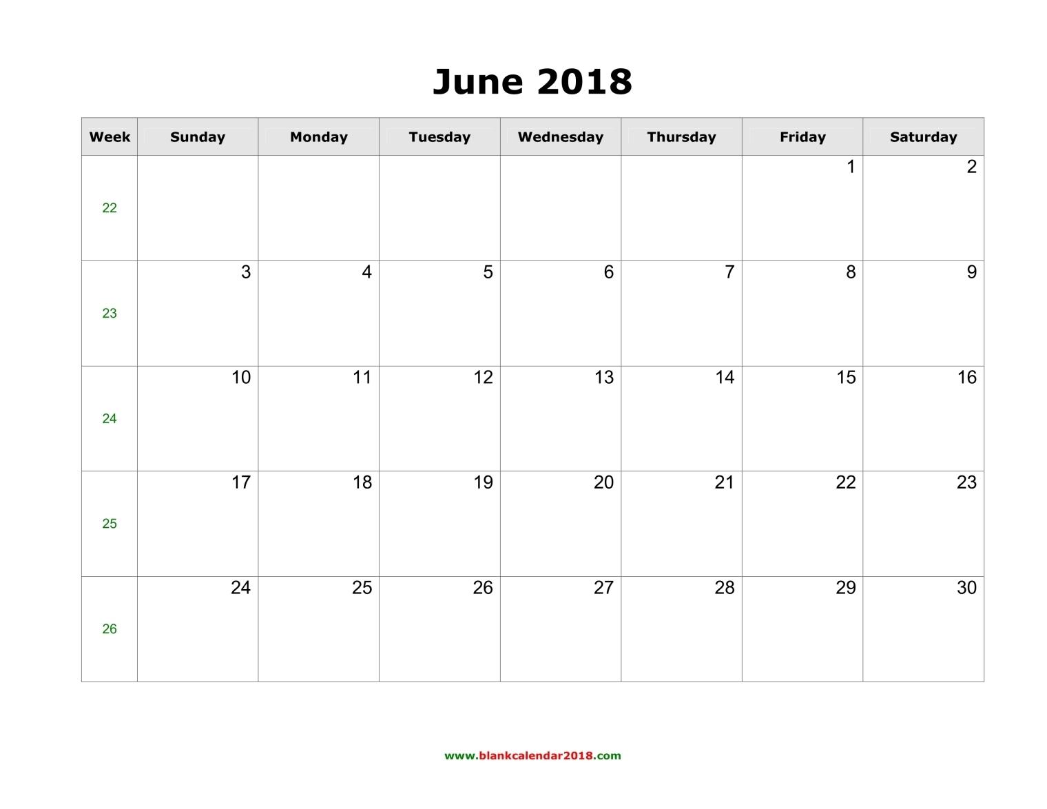 Blank Calendar For June 2018 throughout Blank Calendar June July