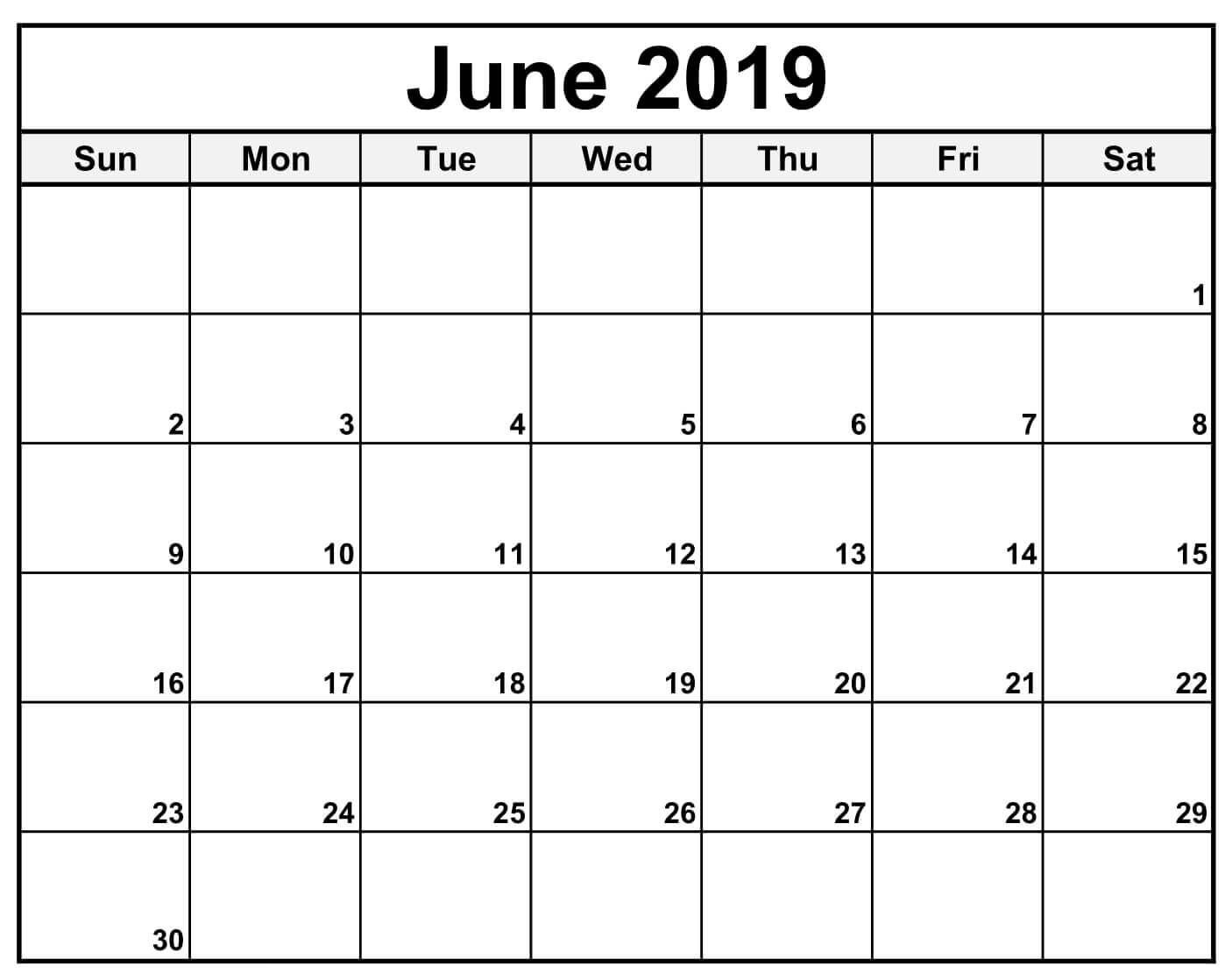 Blank Calendar For June 2019 Printable Template Fillable With Notes for Calendar Template Fillable Pdf