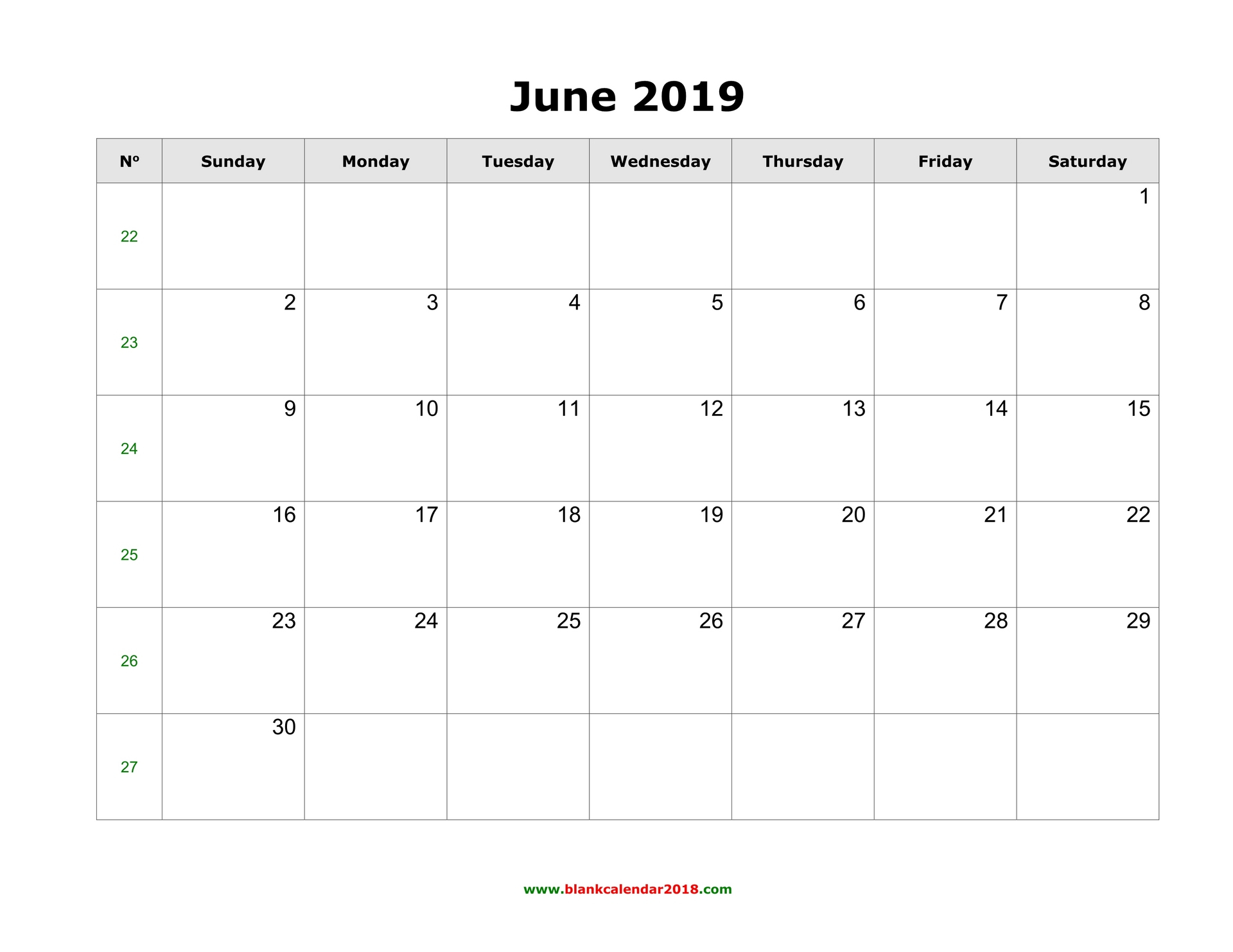 Blank Calendar For June 2019 with regard to Printable Blank Calendar June