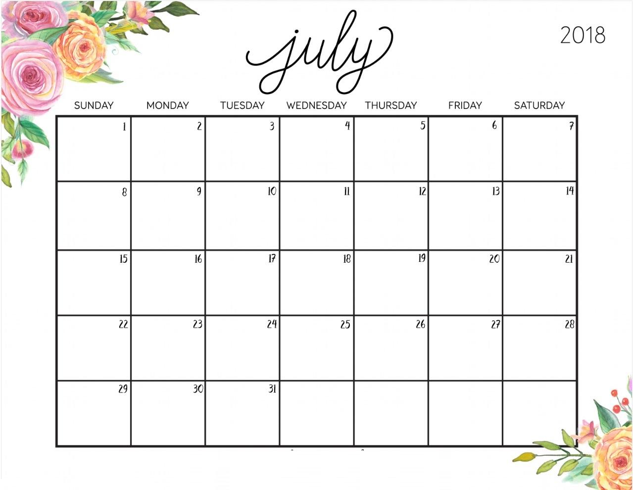 Blank Calendar July 2018 Printable Template Download - July 2019 inside Cute Calendar Templates July