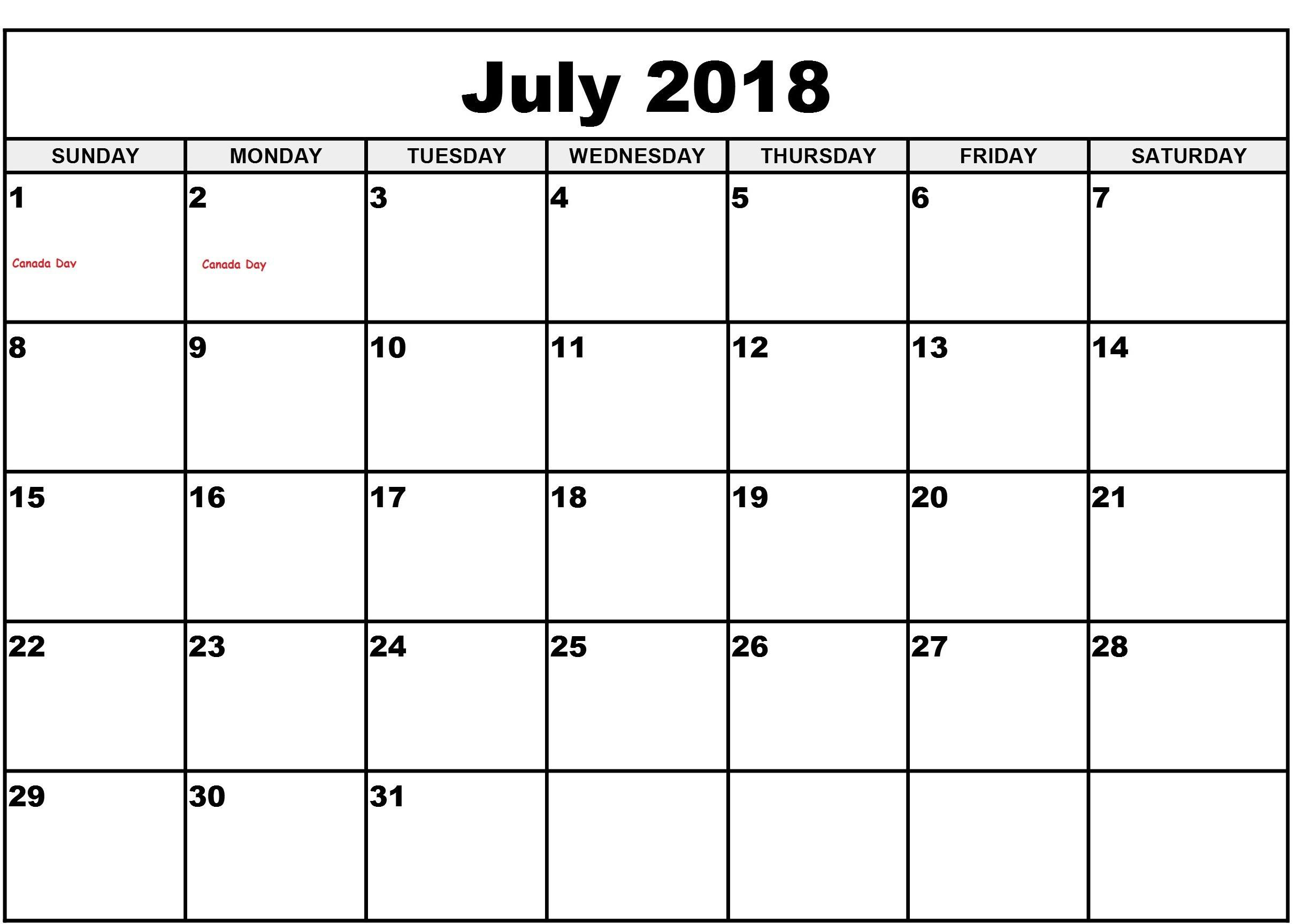 Blank Calendar July 2018 Printable Template Download - July 2019 throughout July Calendar Printable Template