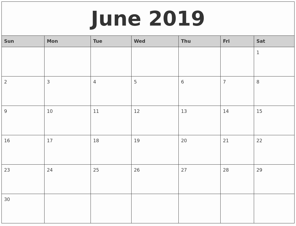 Blank Calendar June And July 2019 April 2019 Blank Printable within Printable Blank Calendar June