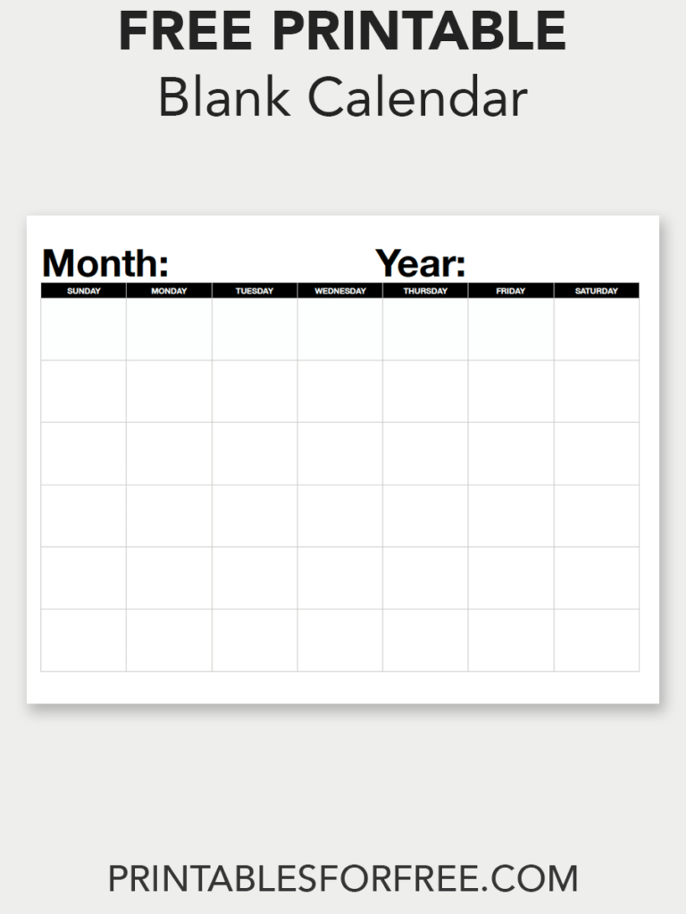 Blank Calendar (Monthly - Sunday Start | Free Printables | Blank with To Fill In Blankcalendar