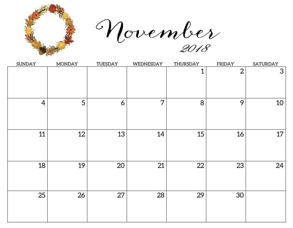Blank Calendar November 2018 Printable - Printable Calendar 2019 intended for Holidays Calendar Templates November