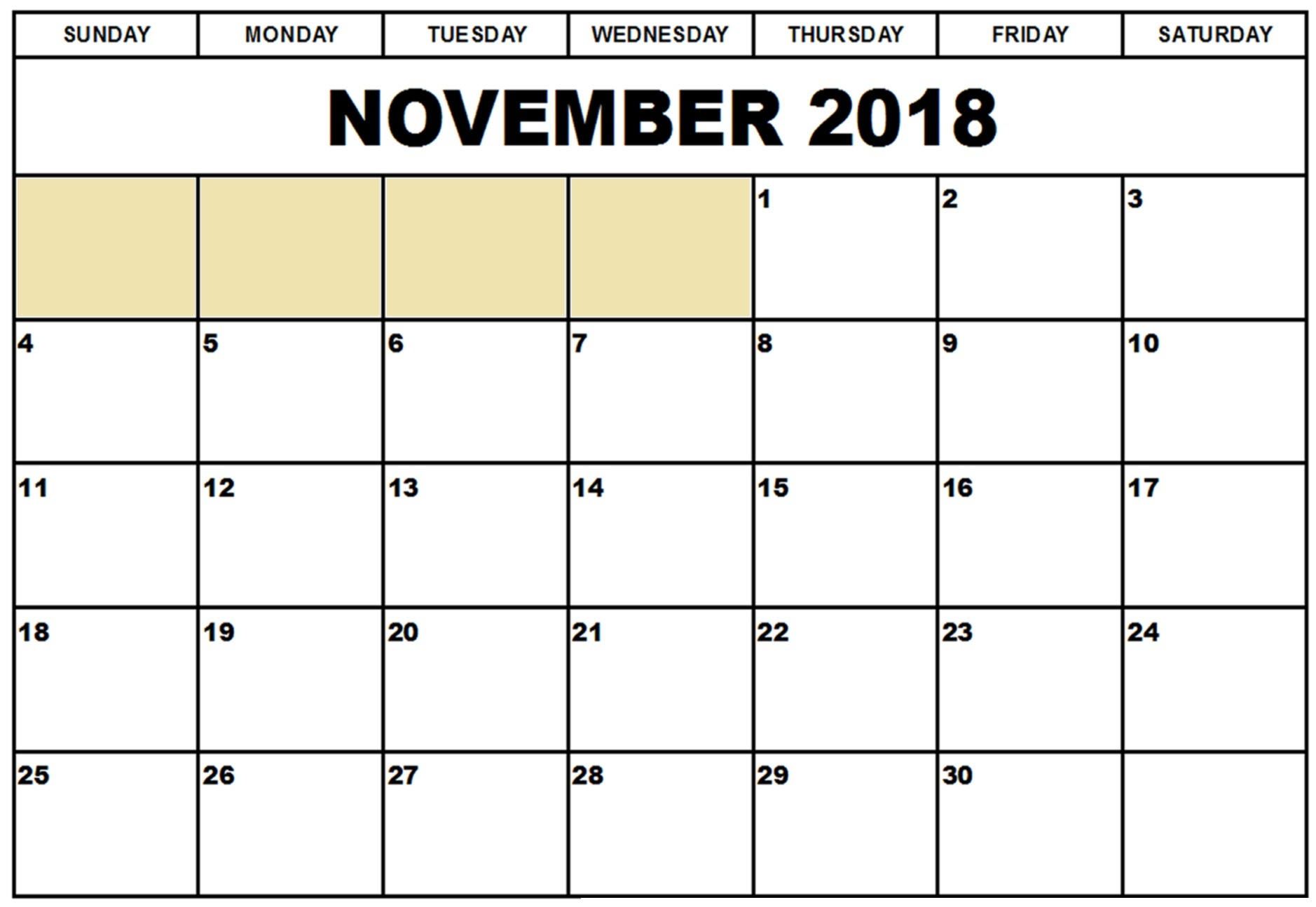 Blank Calendar November 2018 Template Free With Notes pertaining to Blank Calendar For November And December
