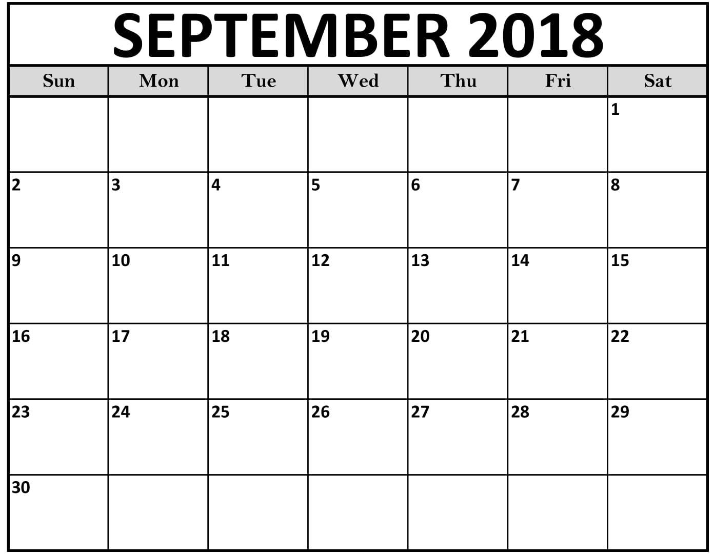 Blank Calendar September 2018 Template Free Printable Calendar regarding Blank Calendars Printable September
