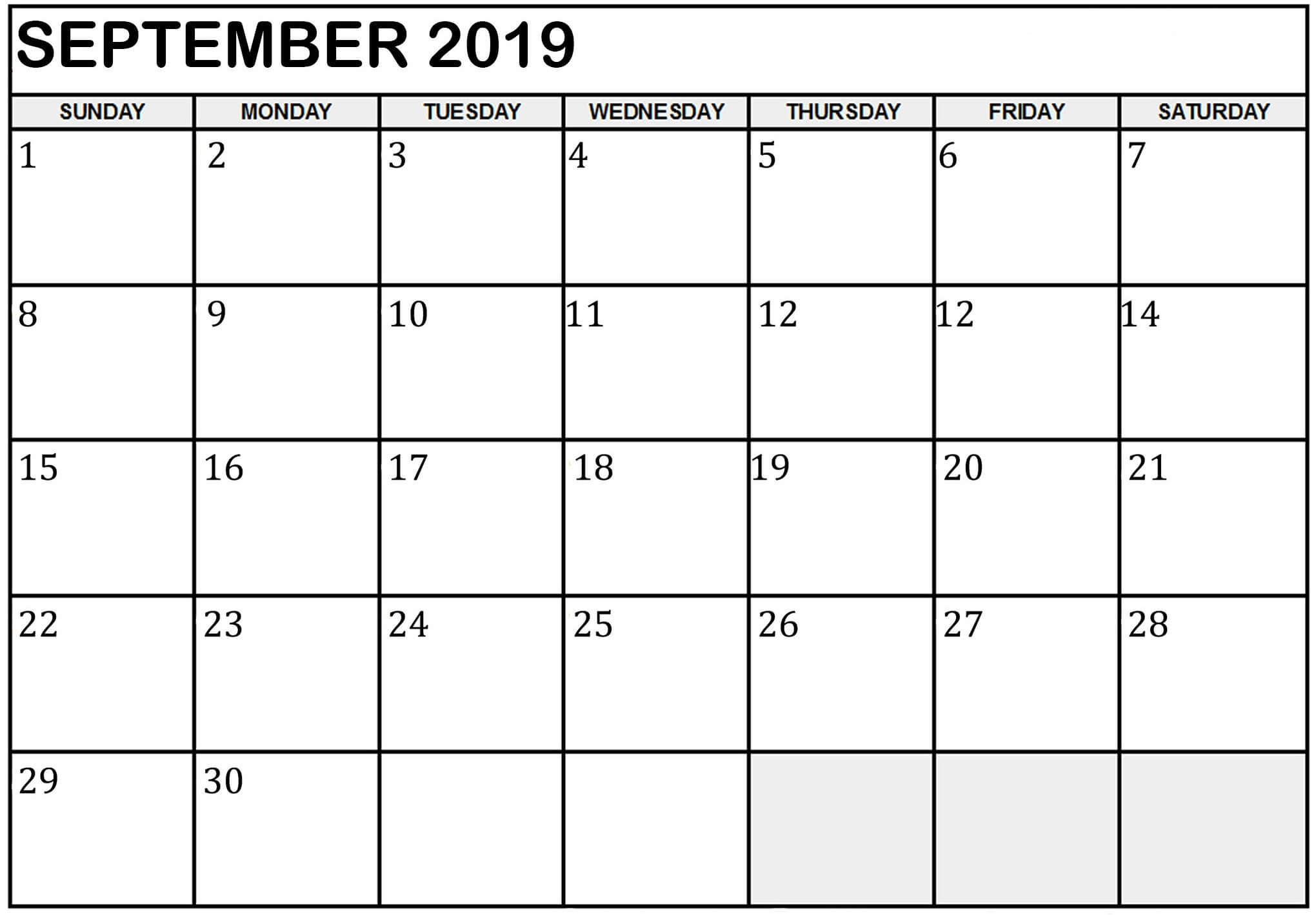 Blank Calendar September 2019   Free Printable Calendar Shop for Free Printable September Blank Calendars With Christian Themes