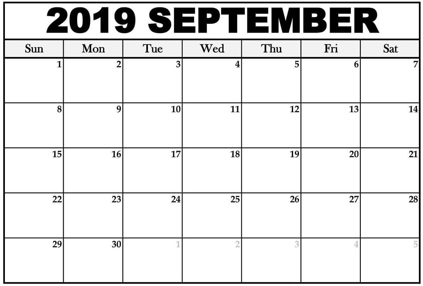 Blank Calendar September 2019   Free Printable Calendar Shop intended for Free Printable September Blank Calendars With Christian Themes