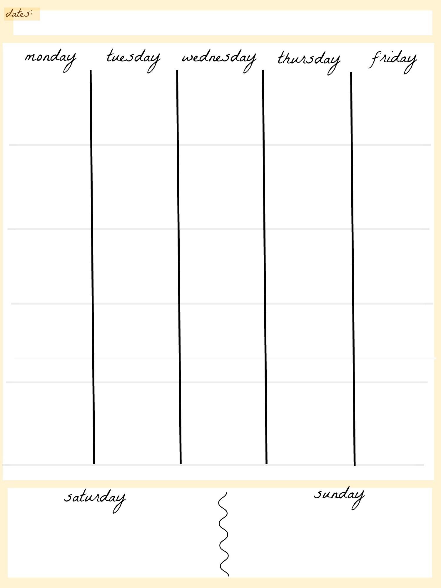 Blank Calendar Template 5 Day Week Weekly Calendar 5 Day Travel Cal1 within 5 Day Blank Calendar Template