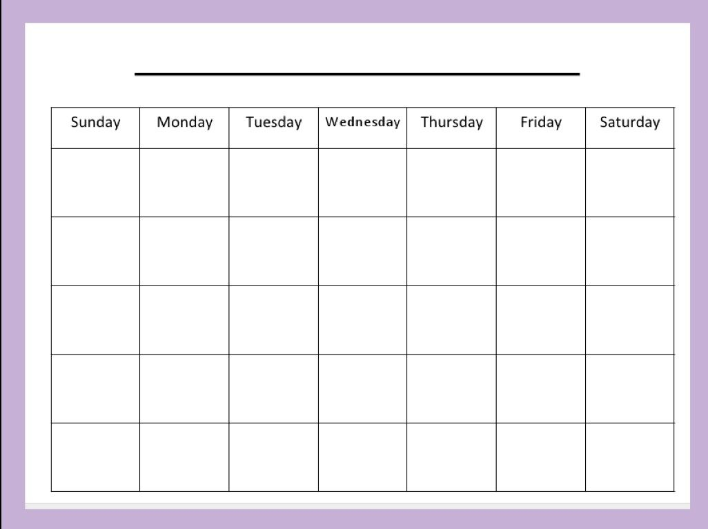 Blank Calendar Template For Kids. Good Number Practice. | Printables pertaining to Empty Calendar Template For Kids