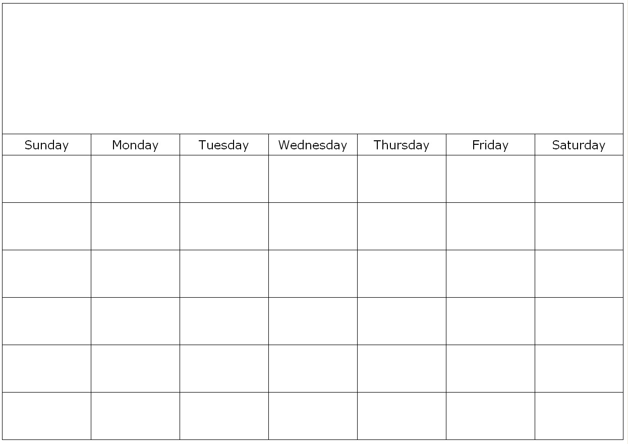 Blank-Calendar-Template-Print Large throughout Printable Monthly Blank Calendar Page