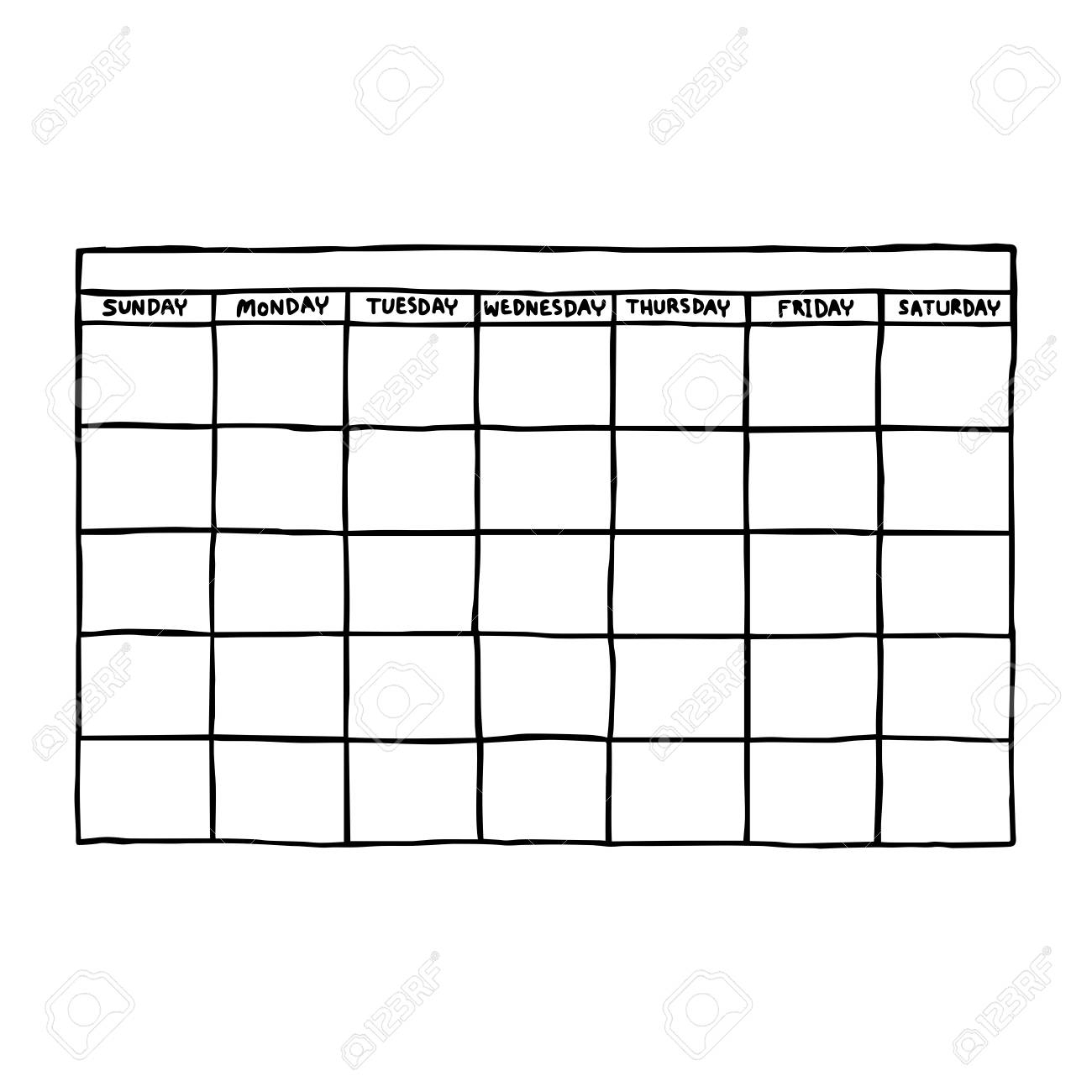 Blank Calendar - Vector Illustration Sketch Hand Drawn With Black.. regarding Need A Blank Calendar With Lines