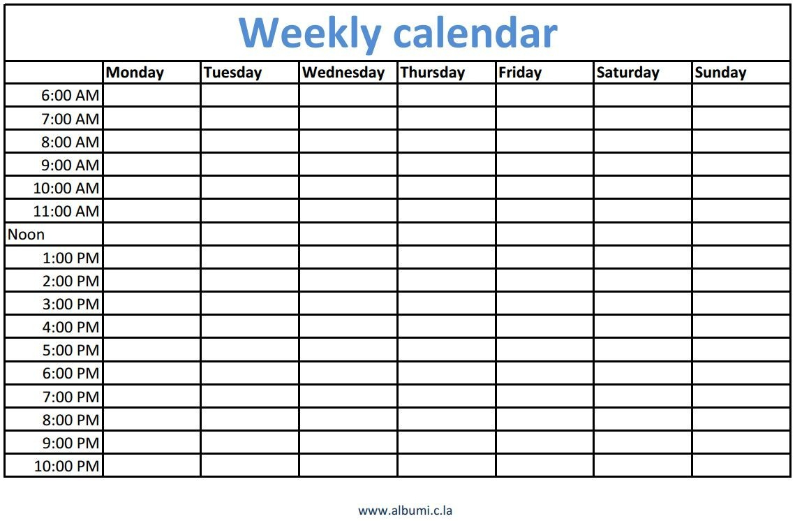 Blank Calendar With Times Printable Daily Editable Weekly Time | Smorad regarding Blank Calendar Printable With Times