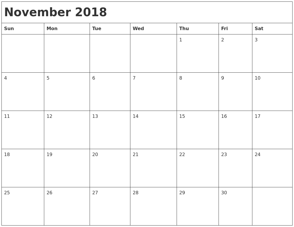 Blank Calendars November 2018 Calendar Zoom | Template Calendar with regard to Blank Calendars November Calendar Zoom