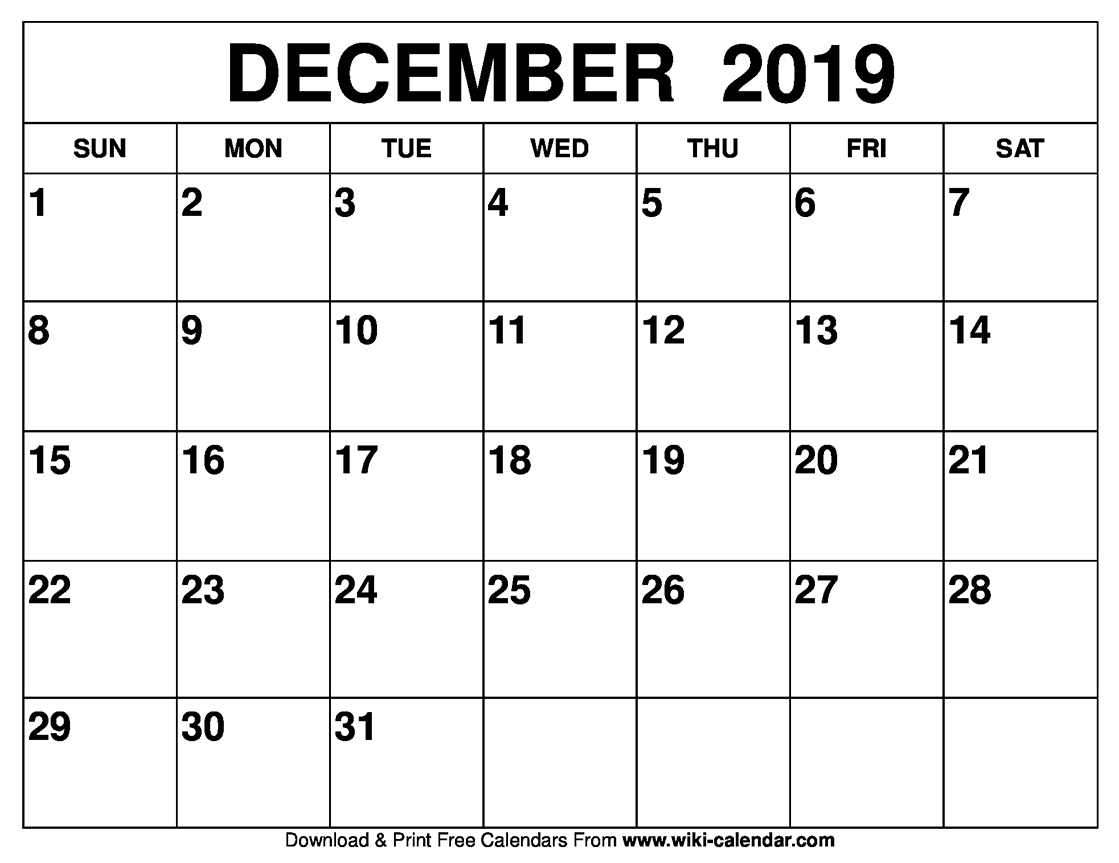 Blank December 2019 Calendar Printable intended for Blank Monthly Calendar Dec