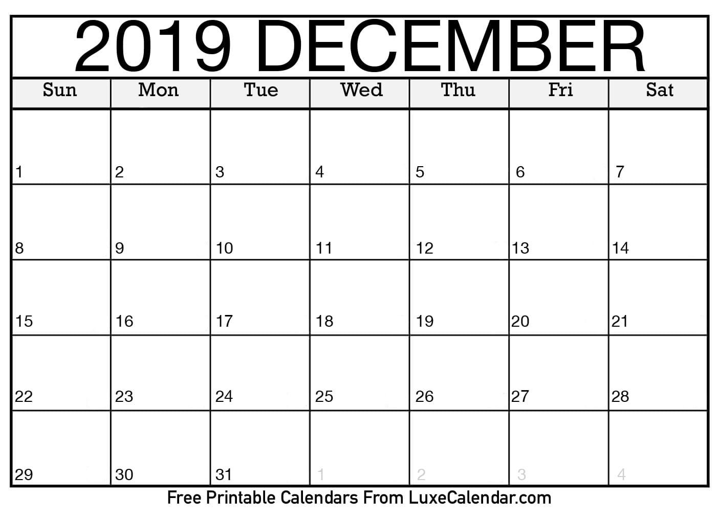 Blank December 2019 Calendar Printable - Luxe Calendar within Blank Calendars December Printable