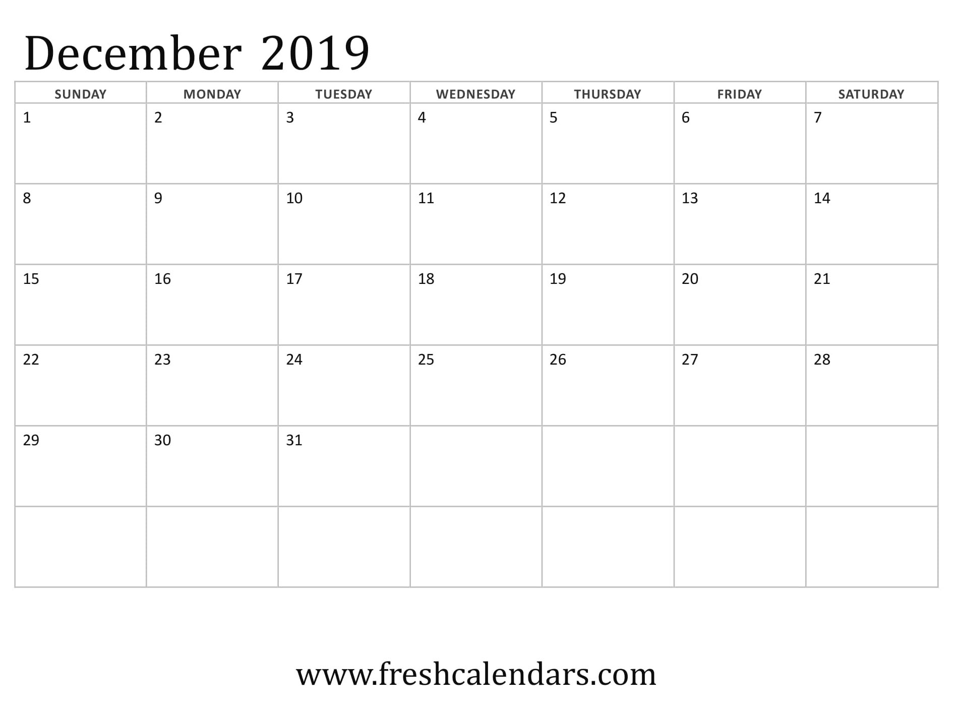 Blank December 2019 Calendar Printable Templates regarding Blank Writable Calendar Template Large December Calendar Com