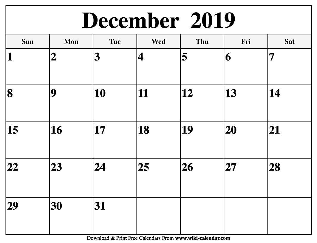 Blank December 2019 Calendar Printable with Blank Calendar Printable December