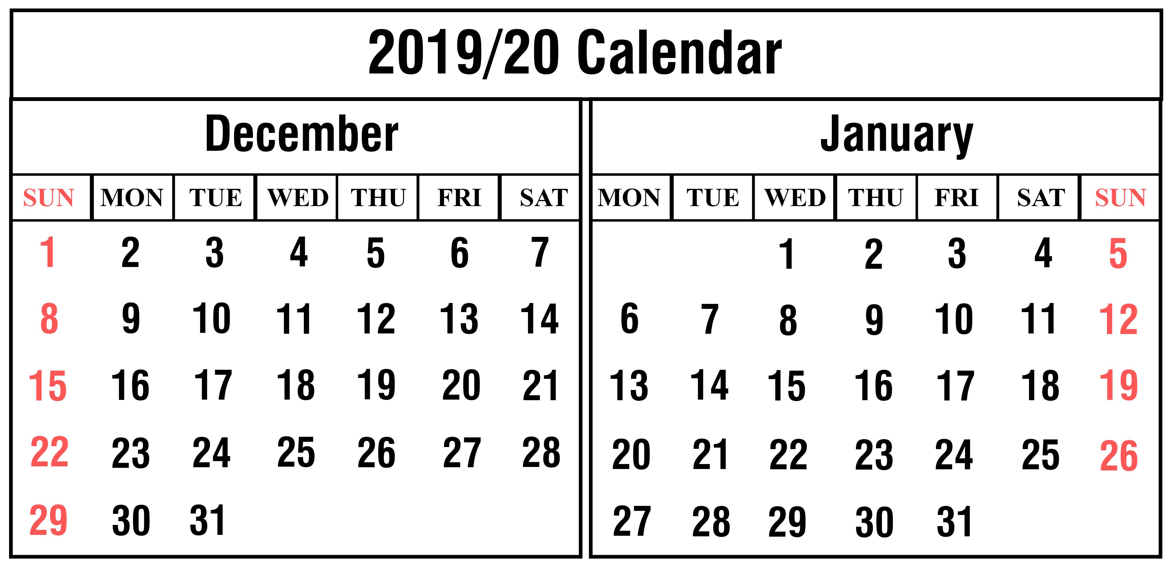 Blank December And January 2019-2020 Calendar Printable | Printable for Edit Free Calendar Template 2019-2020