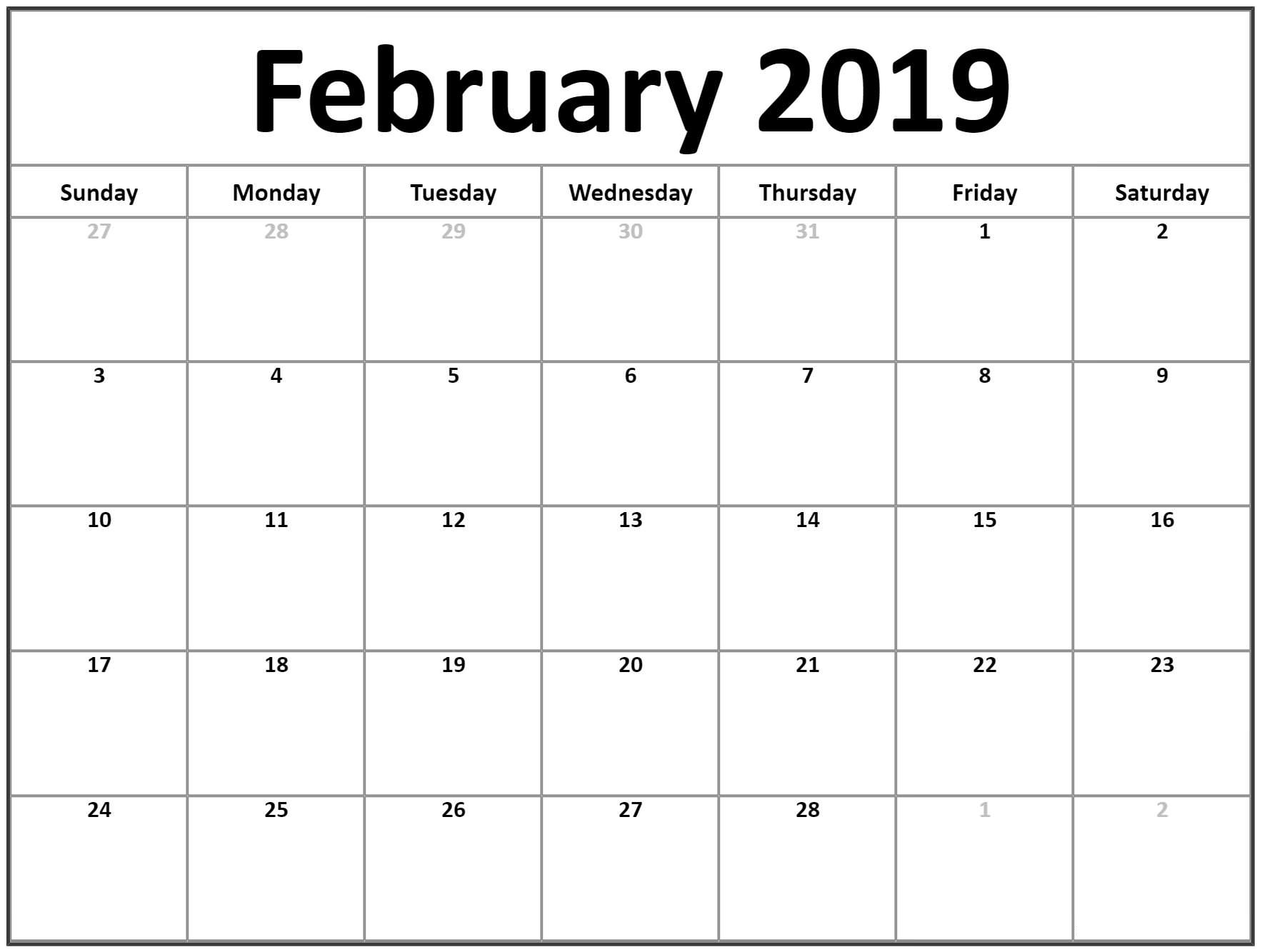 Blank February 2019 Calendar Printable - Free Printable Calendar throughout Blank Calendar To Fill In Free