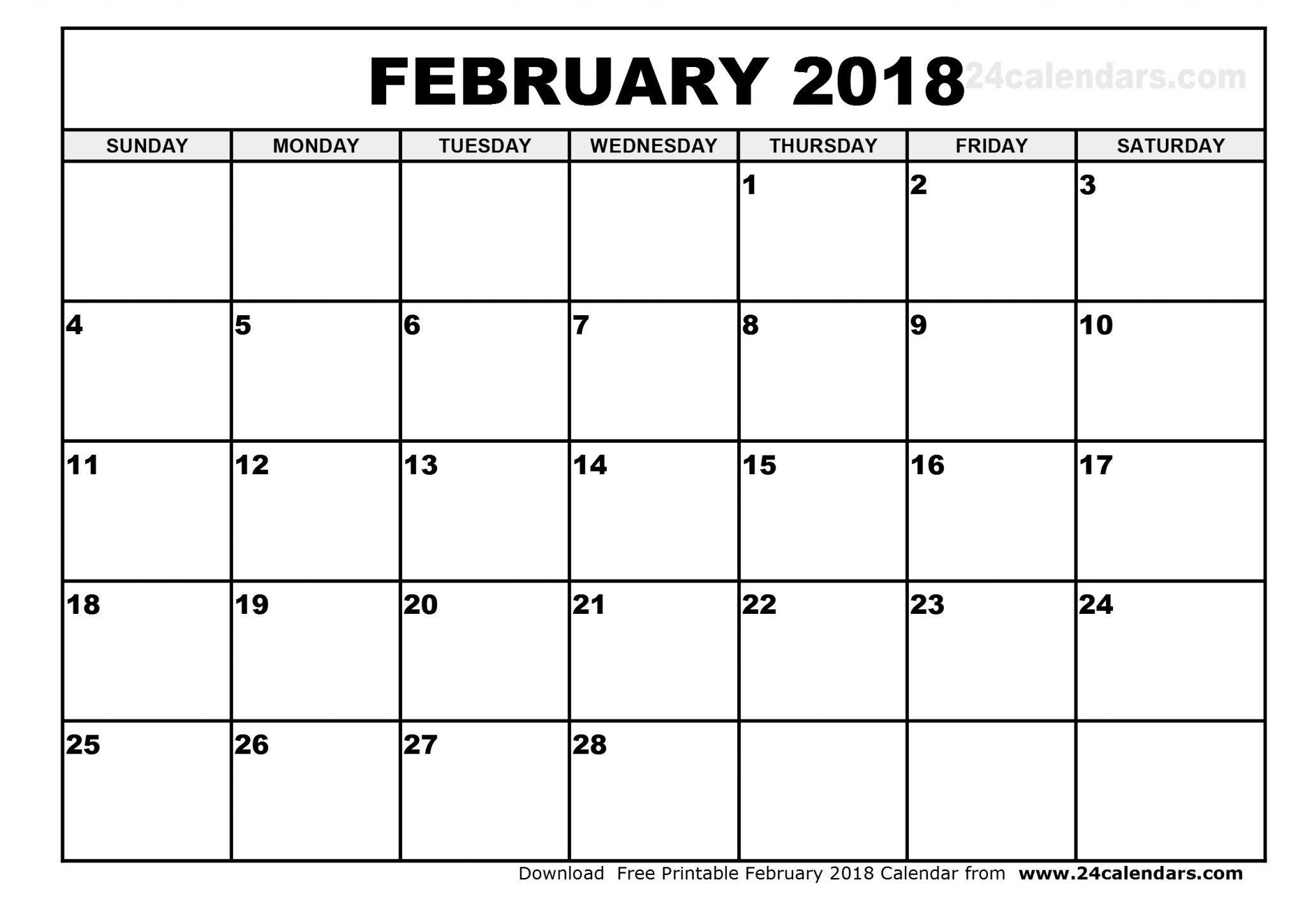 Blank February 2019 Calendar Printable | Free Printable February throughout A3 Calendar Template Printable