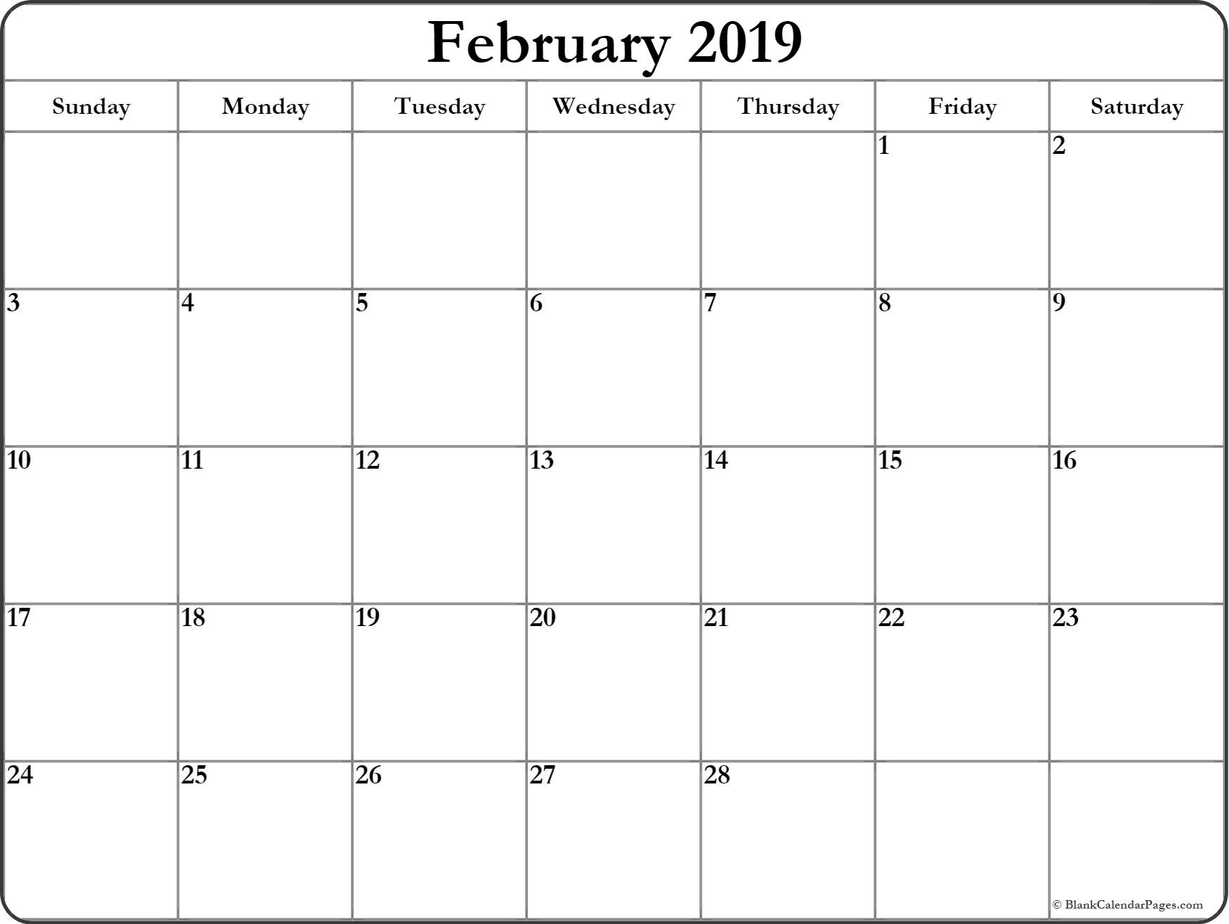 Blank February 2019 Calendar Template Editable In Pdf, Word, Excel within February Calendar Printable Template Blank