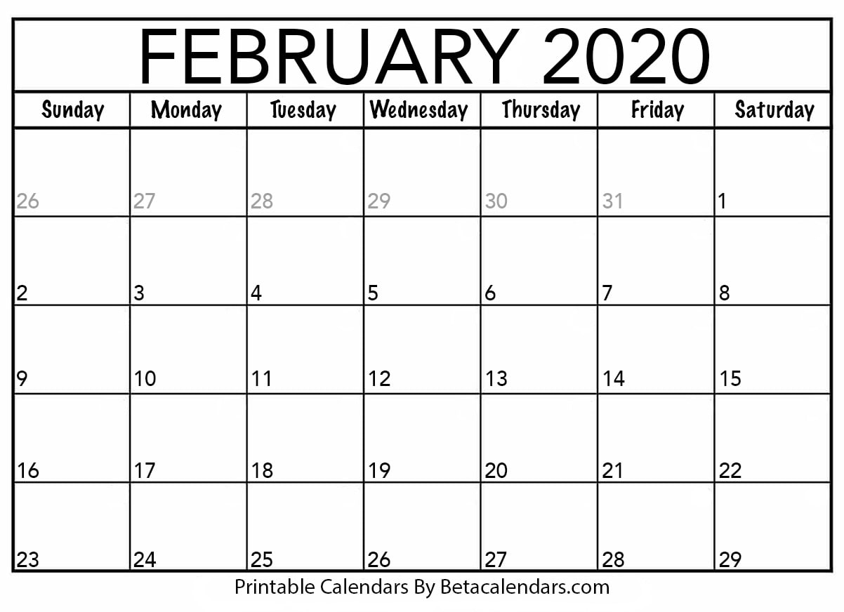 Blank February 2020 Calendar Printable - Beta Calendars for 2020 Printable Liturgical Calendar Free