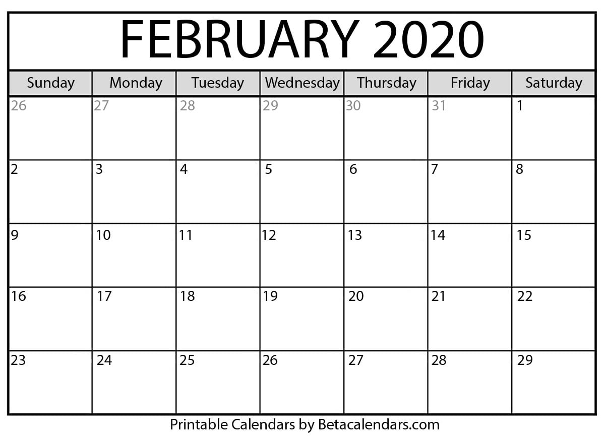 Blank February 2020 Calendar Printable - Beta Calendars in 2020 Printable Calendar By Month