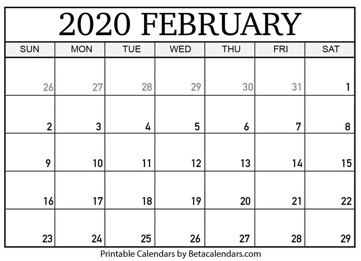 Blank February 2020 Calendar Printable - Beta Calendars with 2020 Printable Liturgical Calendar Free