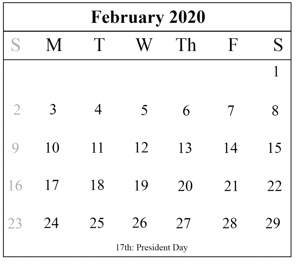 Blank February 2020 Calendar Printable Template – Pdf Word Excel intended for February Calendar Printable Template Blank