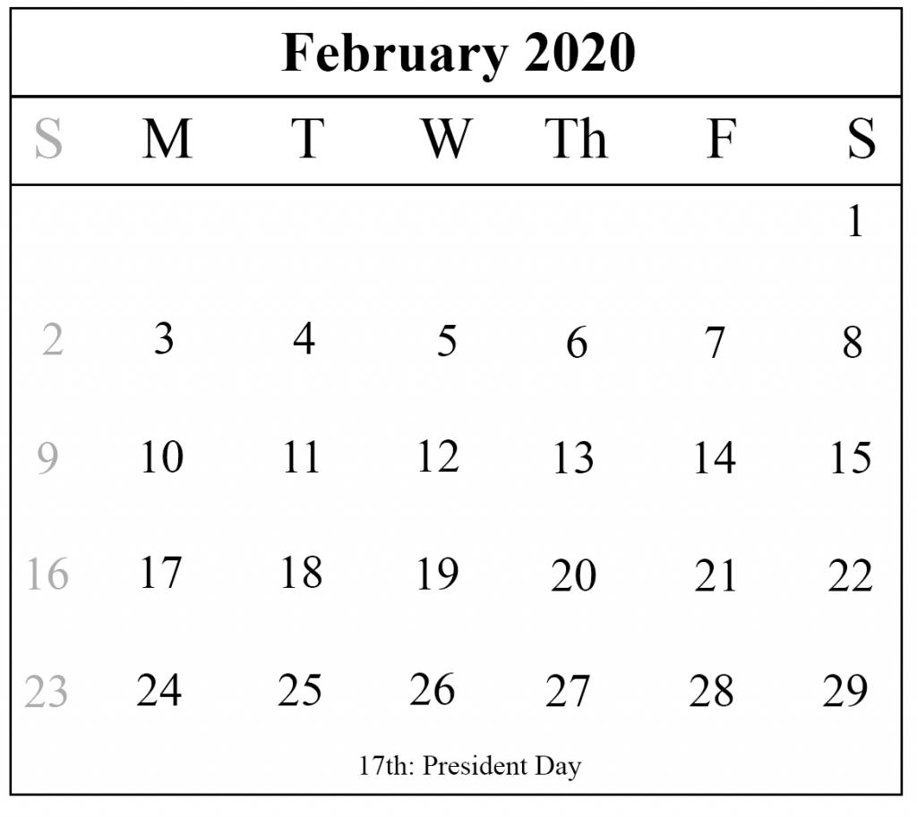 Blank February 2020 Calendar Printable Template – Pdf Word Excel throughout National Day Calendar 2020 Printable