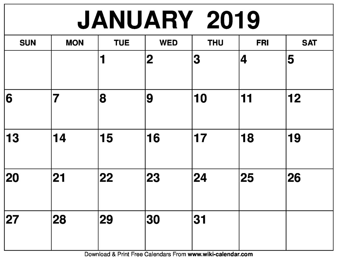 Blank January 2019 Calendar Printable within Large Blank Monthly Calendars January Printable
