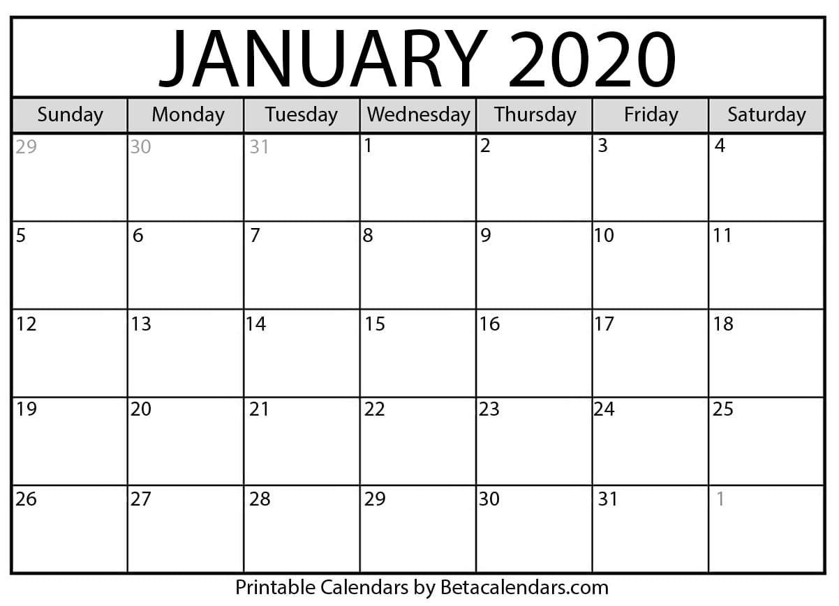 Blank January 2020 Calendar Printable - Beta Calendars inside Blank 2020 Calendar Starting On Saturday Printable Free