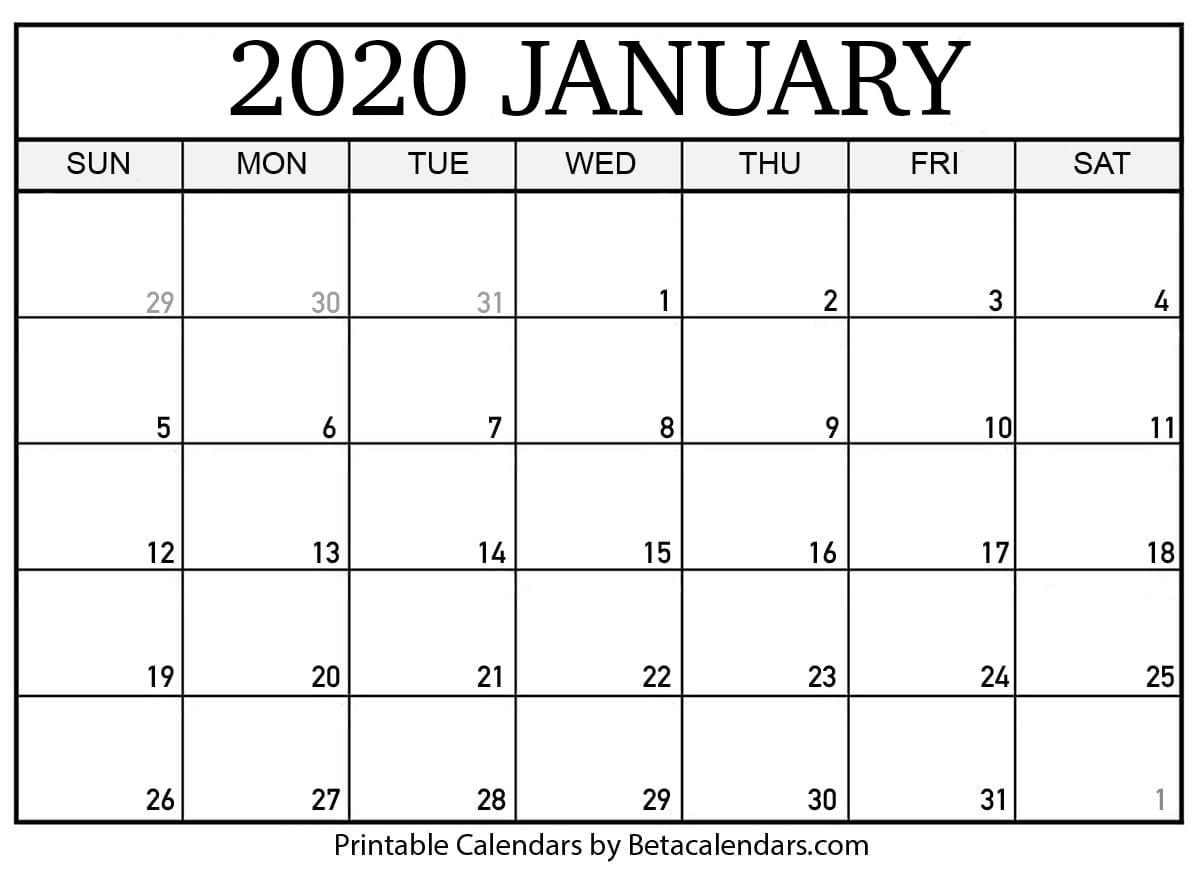 Blank January 2020 Calendar Printable - Beta Calendars inside Free Printable 2020 Calendar With Space To Write