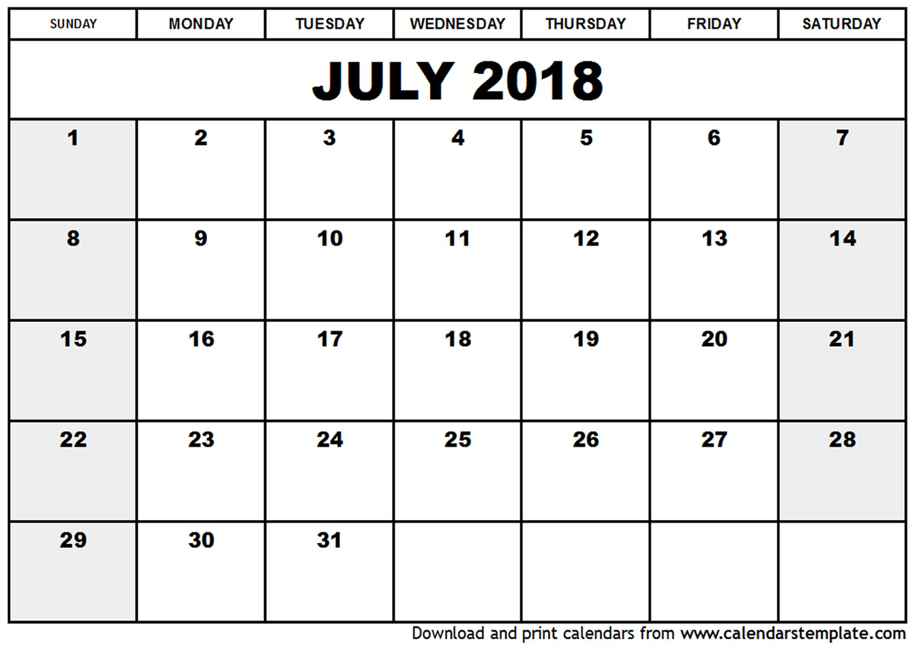 Blank July 2018 Calendar intended for Blank July Calendar Printable