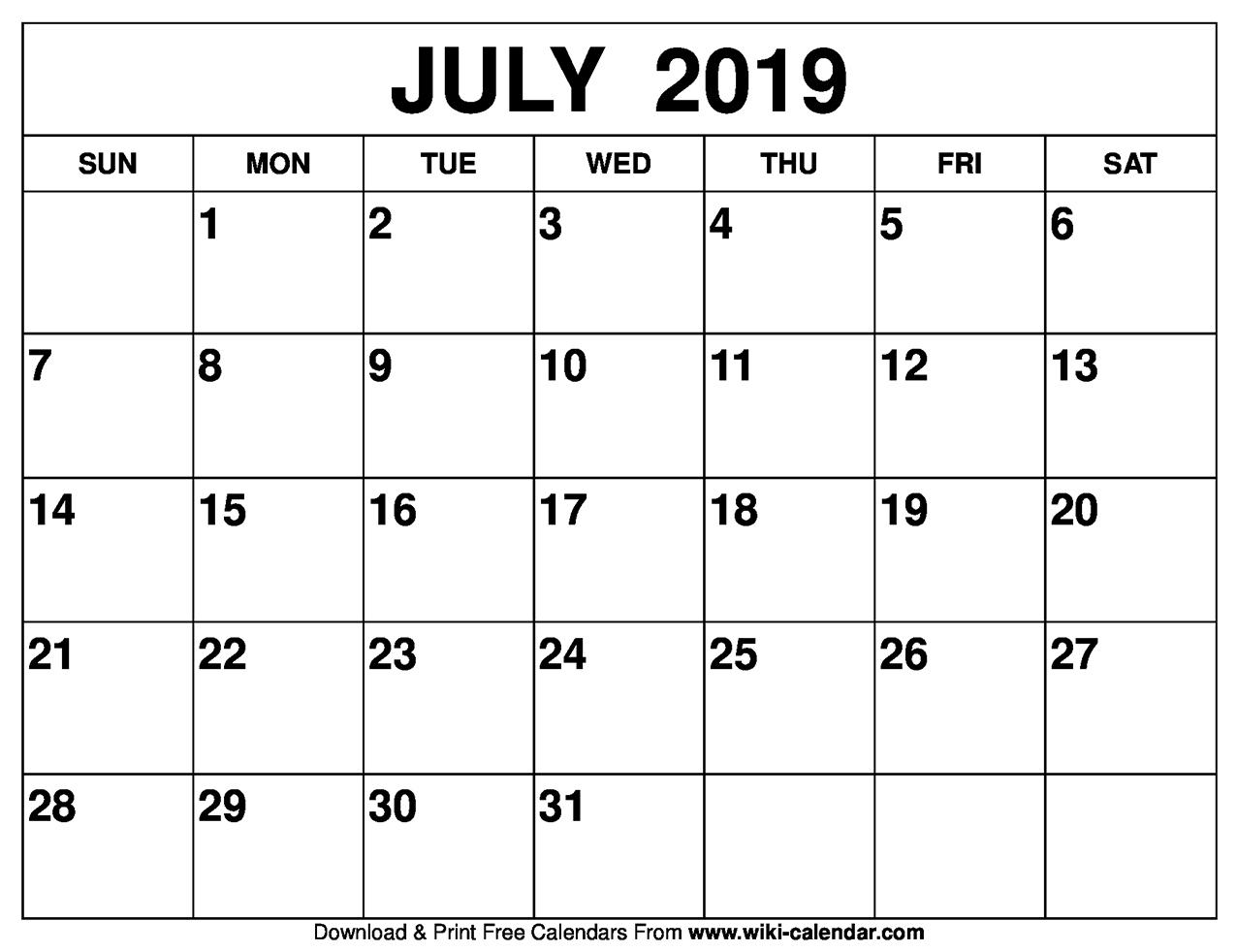 Blank July 2019 Calendar Printable throughout Blank July Calendar Printable