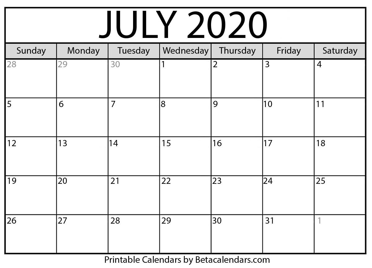 Blank July 2020 Calendar Printable - Beta Calendars within National Day Calendar 2020 Printable