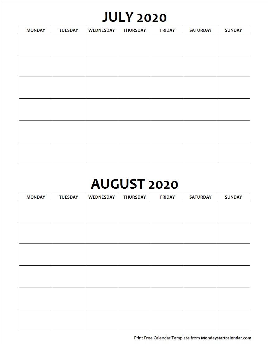 Blank July August 2020 Calendar Monday Start | Two Months Template regarding June July August 2020 Calendar
