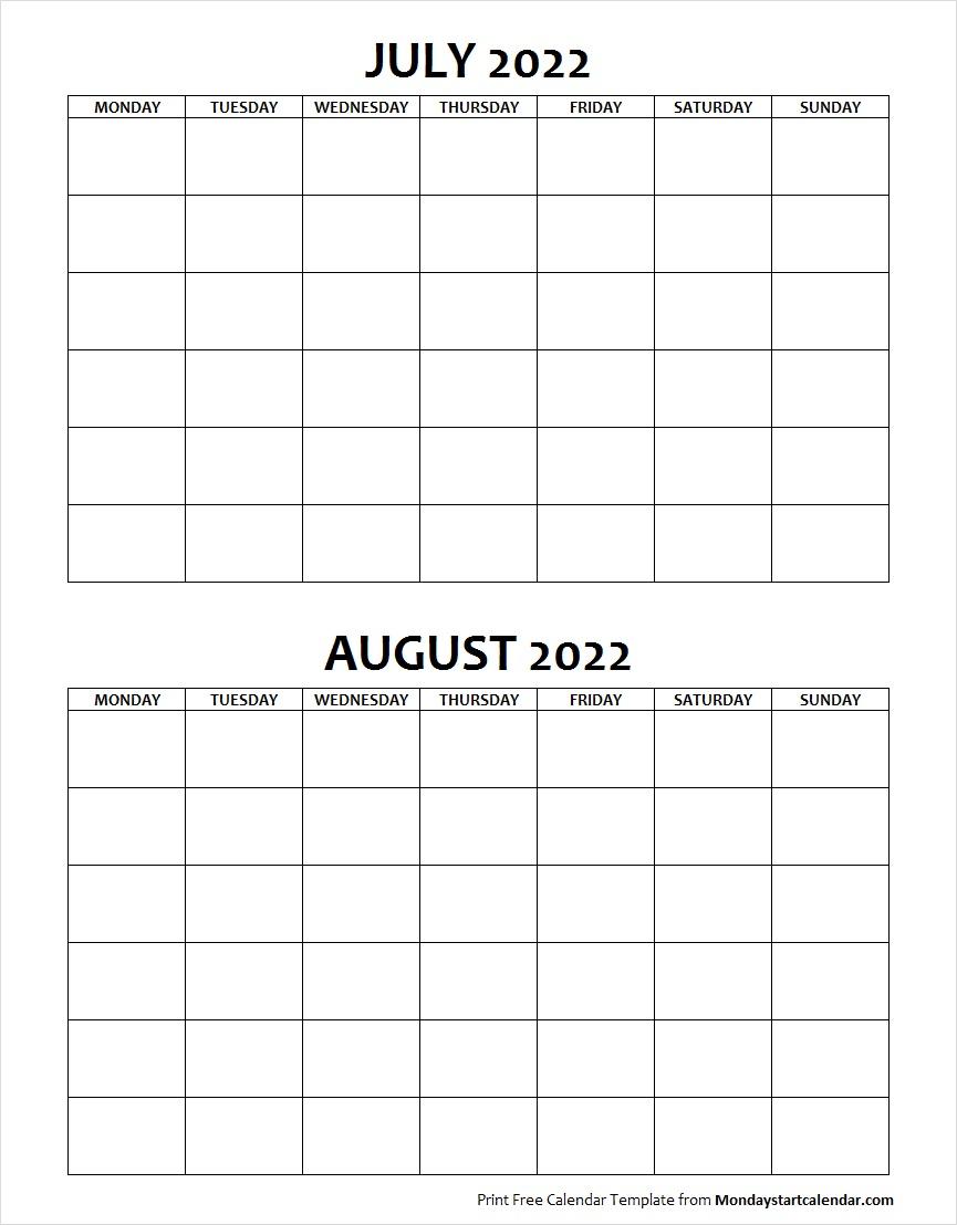 Blank July August 2022 Calendar Monday Start Template with August Blank Calendar Monday Through Friday