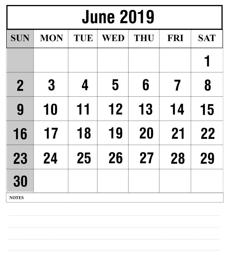 Blank June 2019 Calendar Printable In Pdf, Word, Excel | Printable with regard to Free Printed Calendars From June 2019 To June 2020