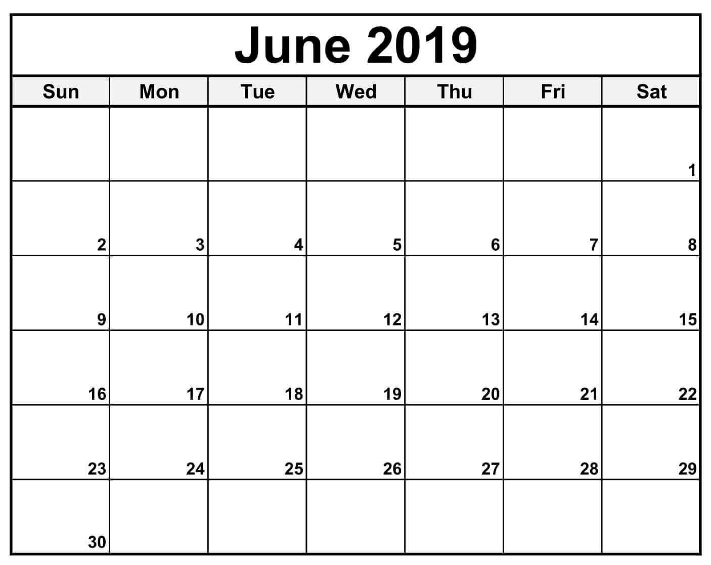 Blank June 2019 Calendar Waterproof – Free Printable Calendar with regard to Free Printable Calendars 2020 Waterproof