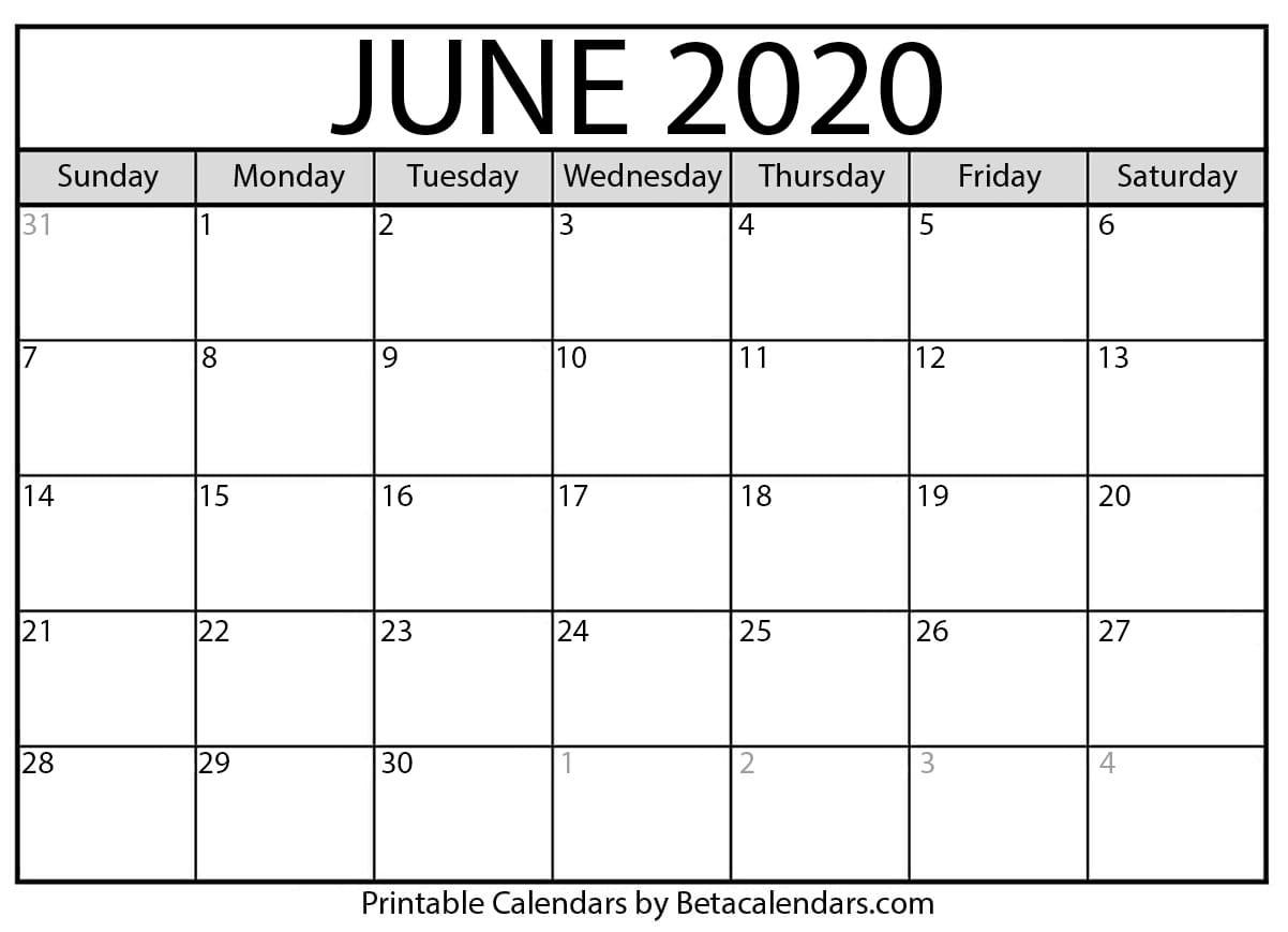 Blank June 2020 Calendar Printable - Beta Calendars within Free Printed Calendars From June 2019 To June 2020