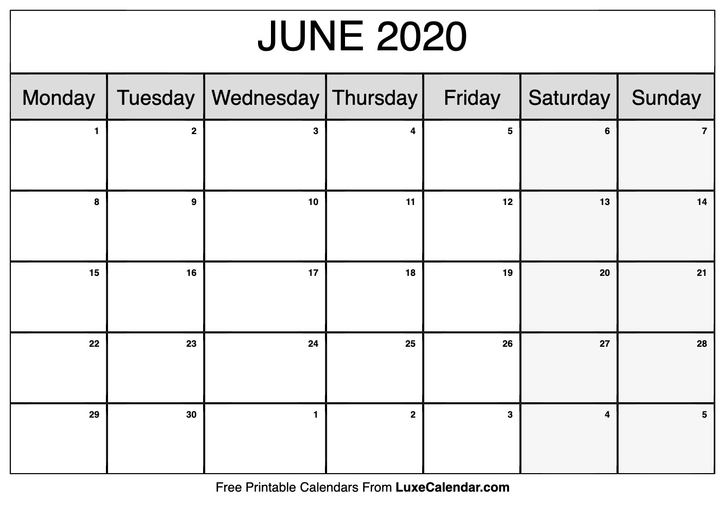 Blank June 2020 Calendar Printable - Luxe Calendar regarding 2020 Monday - Friday Calendar Printable