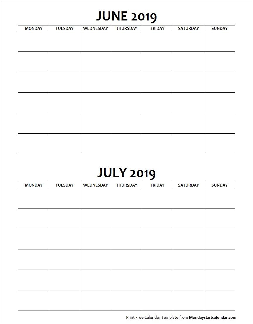 Blank June July 2019 Calendar Monday Start |Two Months Template inside June And July Blank Calendar