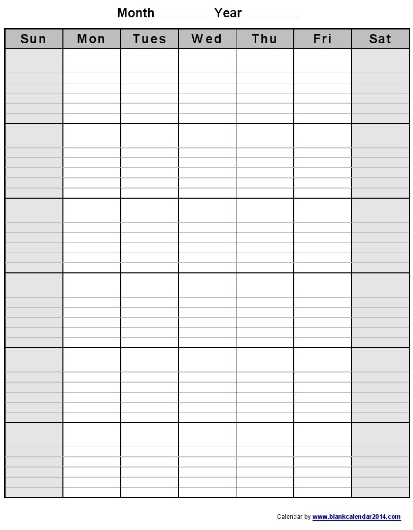 Blank Lined Weekly Printable Calendar | Template Calendar Printable with Blank Lined Weekly Printable Calendar