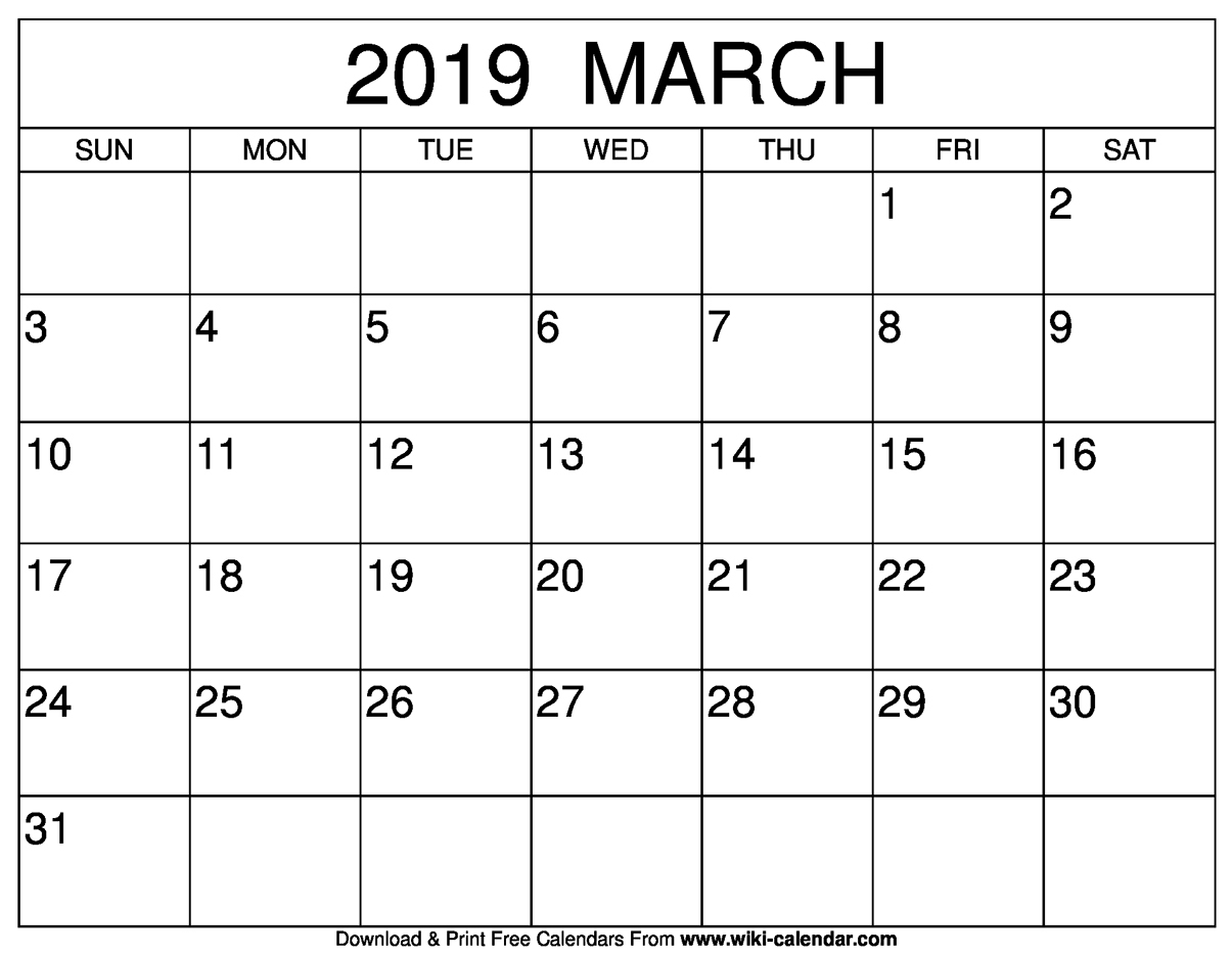 Blank March 2019 Calendar Printable intended for March Calendar Printable Template
