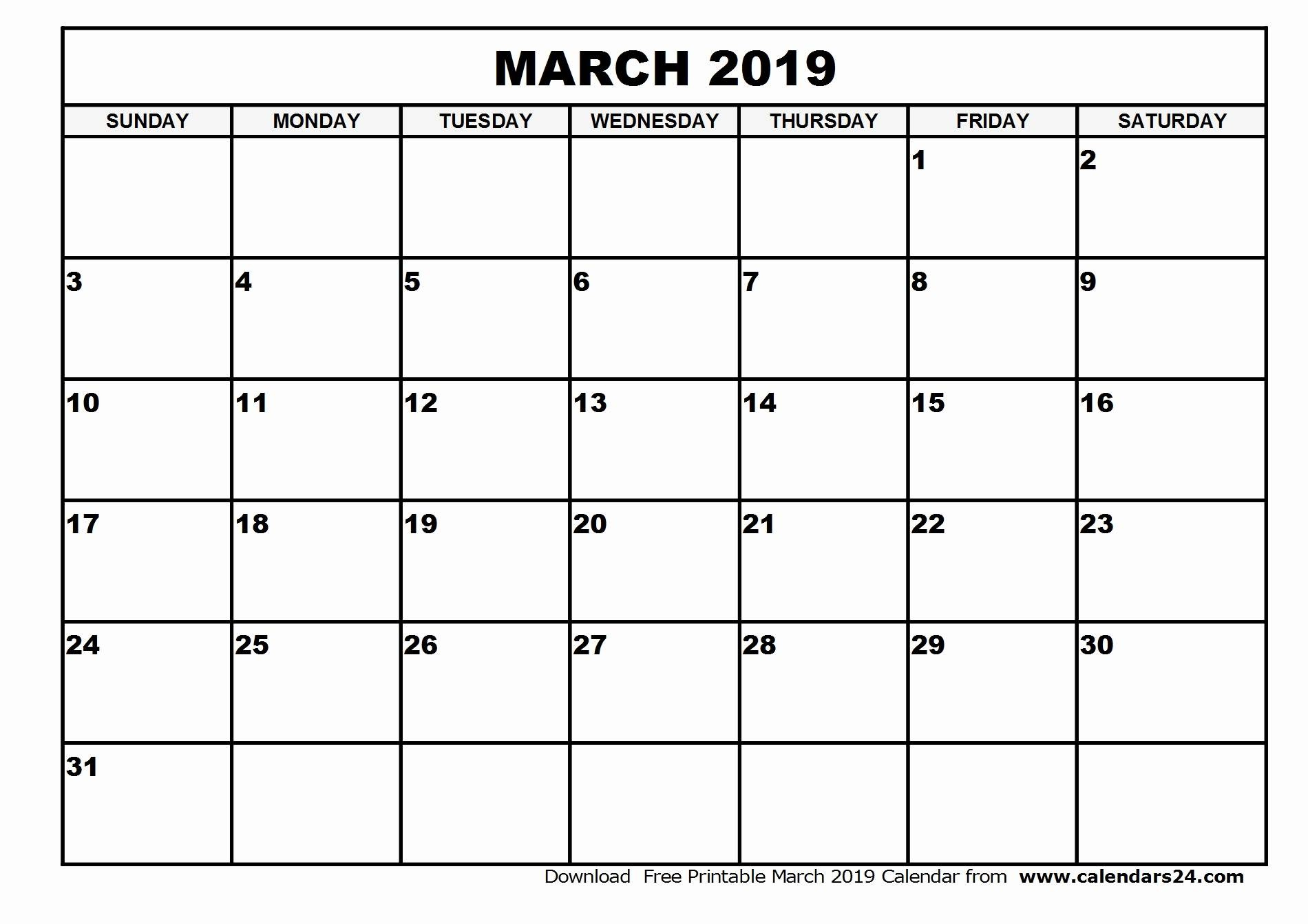 Blank March 2019 Calendar Templates Printable Download - July 2019 in Free Editable Monthly Calendar Template