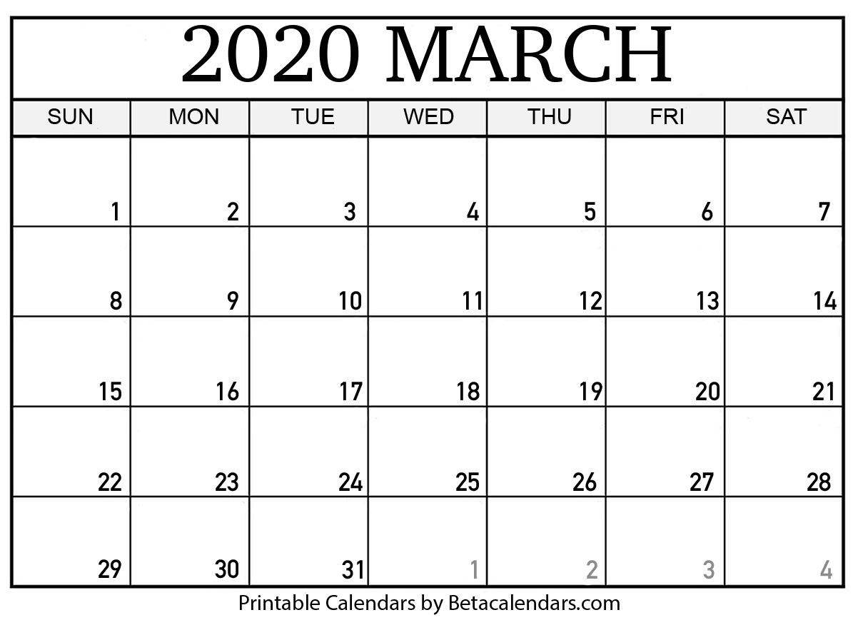 Blank March 2020 Calendar Printable - Beta Calendars for 2020 Free Printable Calendar Large Numbers